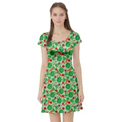 Light Green Vegetable Pattern Short Sleeve Skater Dress