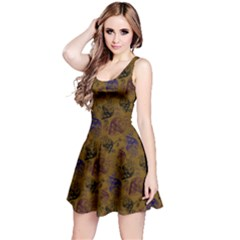 Brown Skull Skull With Flowers Reversible Sleeveless Dress