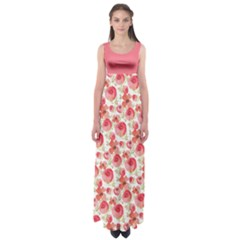 Red Roses Empire Waist Maxi Dress