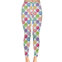 Colorful Watercolour Polka Dot Pattern Leggings