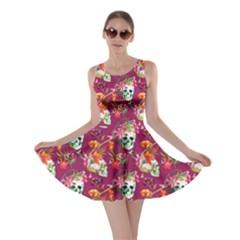 Magneta Skull And Flowers Pattern Skater Dress