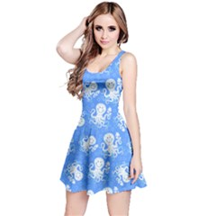 Blue Octopus Short Sleeve Skater Dress