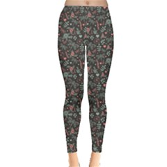 Dark Dragonfly and Flowers Nature Pattern Leggings
