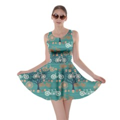 Turquoise Retro Bicycle Pattern Skater Dress