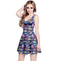 Navy Dinosaur Stylish Pattern Sleeveless Skater Dress