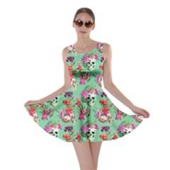 Light Green Skull and Flowers Pattern Skater Dress