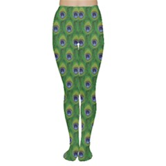 Green Peacock Feathers Women s Tights