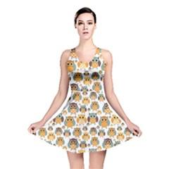 Orange Owl Pattern Reversible Skater Dress