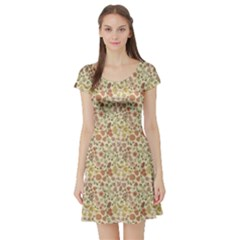 Colorful Floral Pattern With Butterflies On Beige Short Sleeve Skater Dress