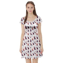 Purple Pattern With Nautical Elements Short Sleeve Skater Dress