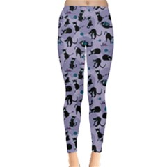 Blue Cats In Acction Pattern Leggings