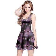 Purple Abstract Pattern Space With Stars Short Sleeve Skater Dress