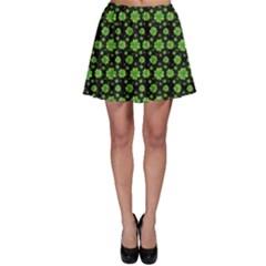 Green Shamrock Pattern Black Skater Skirt