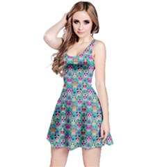 Mint Day Of The Dead Skull Sleeveless Skater Dress