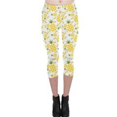 Yellow Pineapple Pattern Capri Leggings