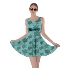 Turquoise Pattern Turtles Skater Dress