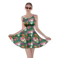 Dark Green Skull And Flowers Pattern Skater Dress