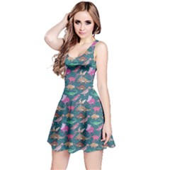 Dark Mint Dinosaur Stylish Pattern Sleeveless Skater Dress