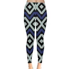 Blue2 Aztec Tribal Chevron Stripes Leggings