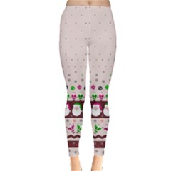 Santa Pattern Beige Leggings