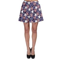 Blue Usa Stars And Stripes Pattern Skater Skirt