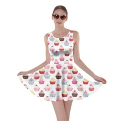 Pink Watercolor Cupcakes Pattern Hand Drawn Skater Dress