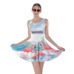 Flamingo Feather  Sky Flamingo V2 Skater Dress