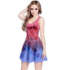 Pink&blue Sleeveless Skater Dress