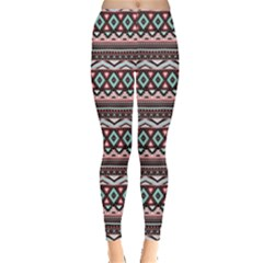 Pink Tribal Aztec Chevron Stripes Leggings
