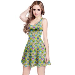 Yellow Day Of The Dead Skull Sleeveless Skater Dress