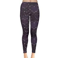 Blue Pattern Star Heart In Night Sky Women s Leggings