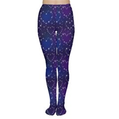 Blue Pattern Star Heart In Night Sky Women s Tights
