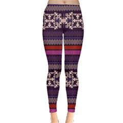 Purple3 Aztec Tribal Chevron Stripes Leggings