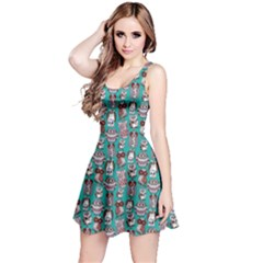 Mint Owl Pattern Sleeveless Skater Dress
