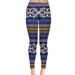 Blue3 Aztec Tribal Chevron Stripes Leggings