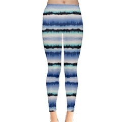 Blue & Black Strips Tie Dye Leggings