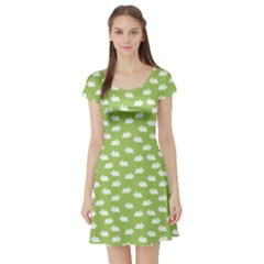 Green Pattern With White Bunnies Short Sleeve Skater Dress
