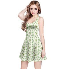 Green Green Cannabis Leaves Pattern Sleeveless Dress