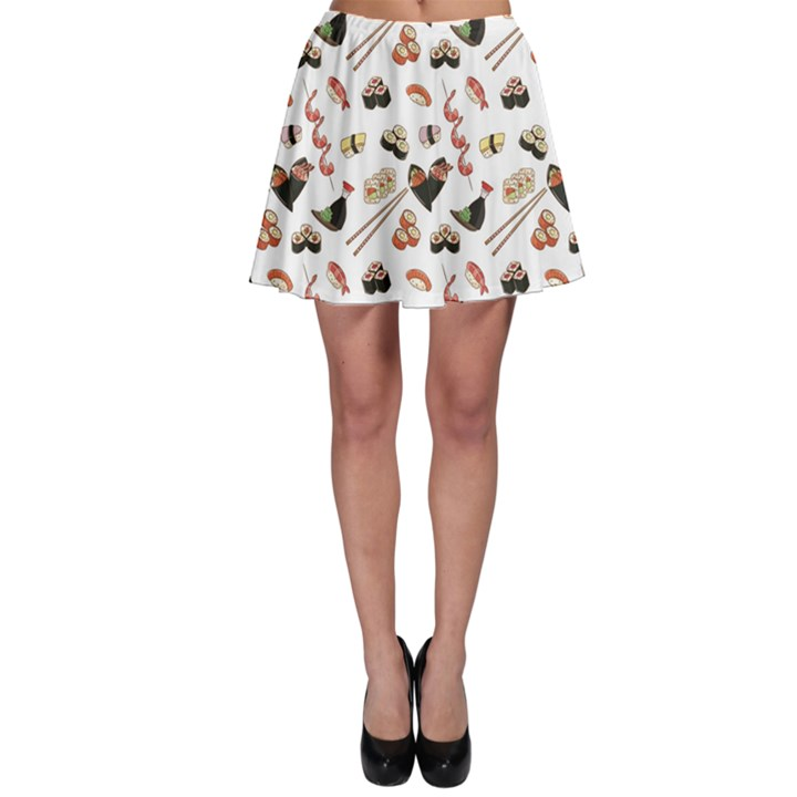 Colorful Pattern With Japanese Food Skater Skirt