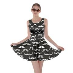 Black Pattern Hipster White Mustache Skater Dress