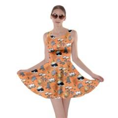 Hiphop Cat Orange Skater Dress