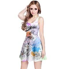 Inkfloral2 Sleeveless Skater Dress