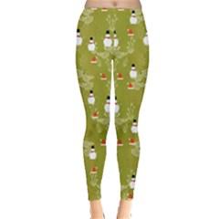 Light Olive Snowman Leggings