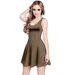 Brown Abstract Flat Wooden Texture Wooden Pattern Sleeveless Dress