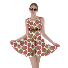 Red Pattern With Strawberries Graphic Stylized Drawing Skater Dress