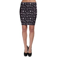 Black White Cats on Black Pattern for Your Design Bodycon Skirt