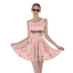 Pink Pattern with Sea Horses Shells and Stars Skater Dress
