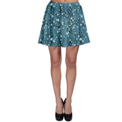 Blue Water Pattern Tree Cherry Blossom Sakura Nature Skater Skirt