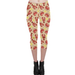 Red Lobster and Crab Lemon and Dill Pattern Capri Leggings