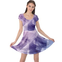 Blue Iridescent Blue Purple And Pink Pattern Cap Sleeve Dress